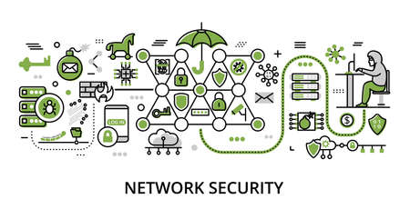 Infographic greenery Network Security concept, modern flat thin line vector illustration, for graphic and web design