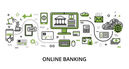 Infographic greenery Online Banking concept, modern flat thin line design vector illustration, for graphic and web design Çizim