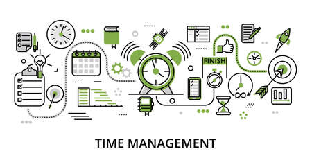 Infographic greenery Time Management concept, modern flat thin line design vector illustration, for graphic and web design