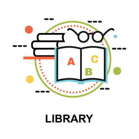 Modern flat thin line design vector illustration, concept of Library, for graphic and web design