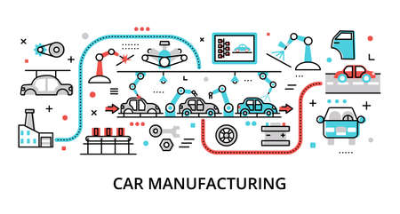 Concept of Car Manufacturing, modern flat editable line design vector illustration, for graphic and web design Çizim
