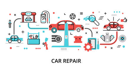 Concept of Car Repair, modern flat editable line design vector illustration, for graphic and web design