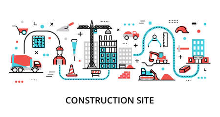 Concept of Construction Site, modern flat editable line design vector illustration, for graphic and web design Çizim