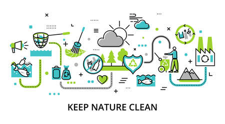 Concept of Keep Nature Clean, website template, modern flat editable line design vector illustration, for graphic and web design