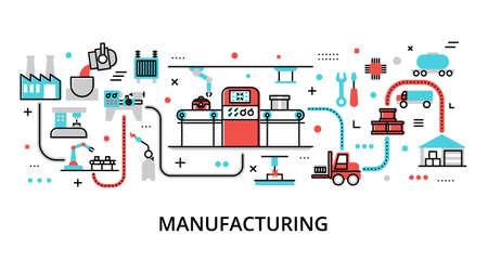 Concept of Manufacturing, modern flat editable line design vector illustration, for graphic and web design Çizim