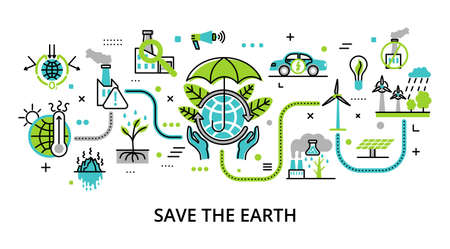 Concept of Save the Earth, for graphic and web design, flat line vector illustration