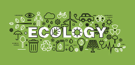 Concept of Ecology with word on green background for graphic and web design, flat line vector illustration Vetores