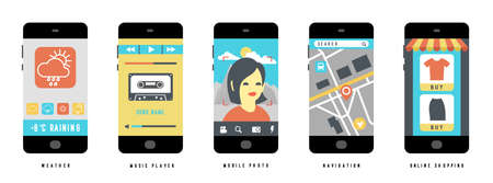 Set of Mobile Apps concepts on black smartphone with different user interface elements, flat vector illustration