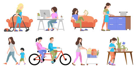 Set of People Weekend concepts on white background, flat vector illustration