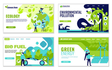 Set of website templates of Ecology concepts, for graphic and web design, flat design vector illustration