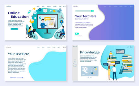 Set of Education concepts and empty templates, website templates, for graphic and web design, flat vector illustration  Çizim