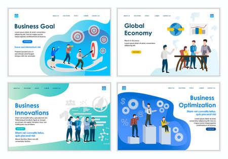 Set of creative website template of Business concepts, modern flat design vector illustration Stok Fotoğraf - 146621373