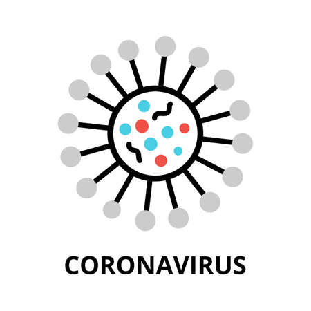 Concept of Coronavirus icon, modern flat editable line design vector illustration, for graphic and web design Stok Fotoğraf - 146921360