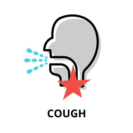 Concept of Cough icon, modern flat editable line design vector illustration, for graphic and web design