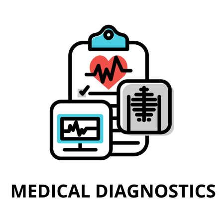 Concept of Medical Diagnostics icon, modern flat editable line design vector illustration, for graphic and web design