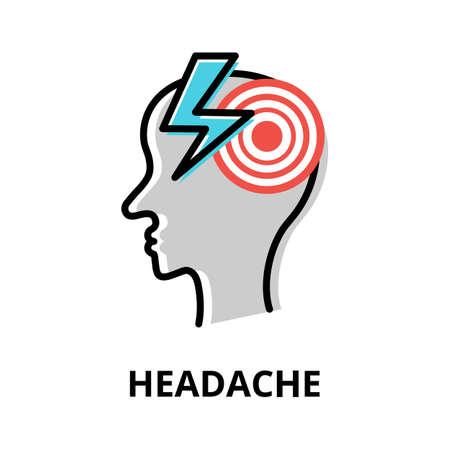 Concept of Headache icon, modern flat editable line design vector illustration, for graphic and web design Çizim