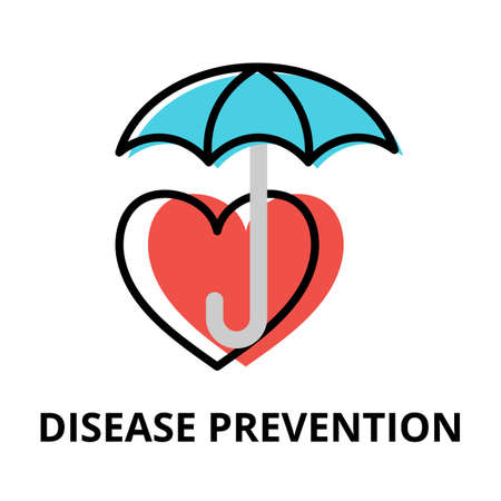 Concept of Disease Prevention icon, modern flat editable line design vector illustration, for graphic and web design