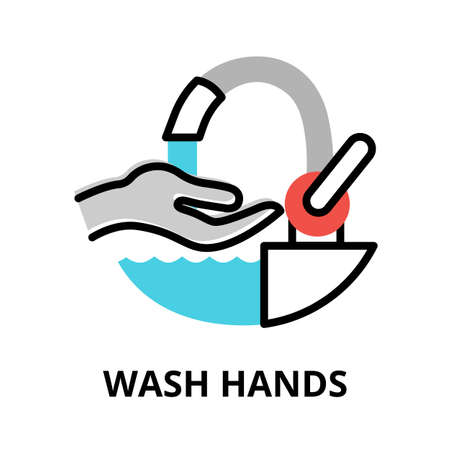 Concept of Wash Hands icon, modern flat editable line design vector illustration, for graphic and web design