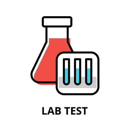 Concept of Lab Test icon, modern flat editable line design vector illustration, for graphic and web design