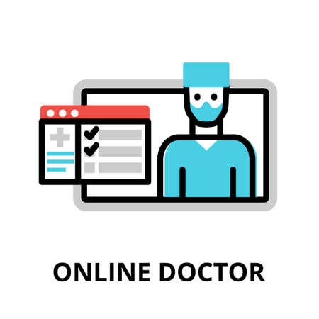 Concept of Online Doctor icon, modern flat editable line design vector illustration, for graphic and web design Çizim