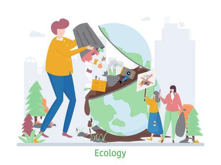 Concept of Ecology Problem, flat design vector illustration