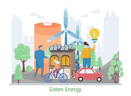 Concept of Green Energy, generation and saving green energy, flat design vector illustration Çizim