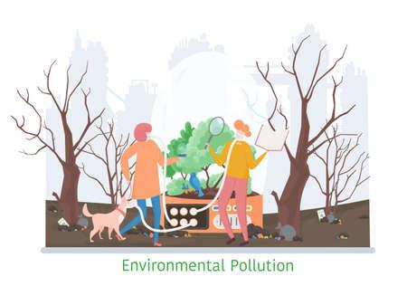 Concept of Environmental Pollution, flat line vector illustration