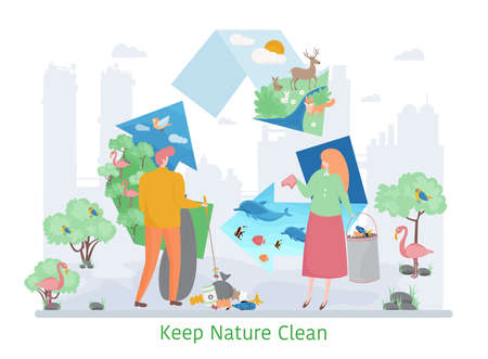 Concept of Keep Nature Clean, flat design vector illustration