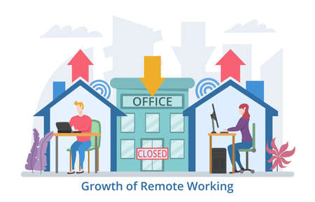 Growth of Remote Working concept, modern flat design vector illustration Çizim