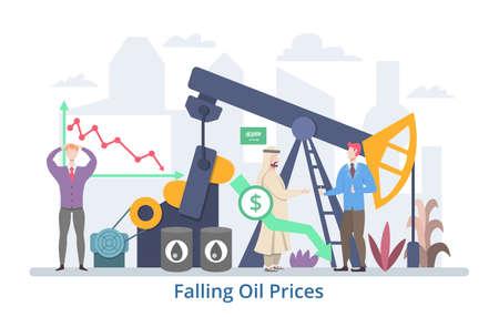 Falling Oil Prices concept, flat design vector illustration Çizim