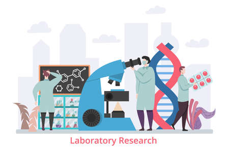 Concept of Laboratory Research, flat design vector illustration