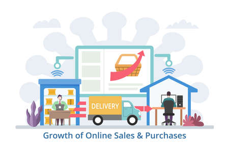 Growth of Online Sales & Purchases concept, modern flat design vector illustration