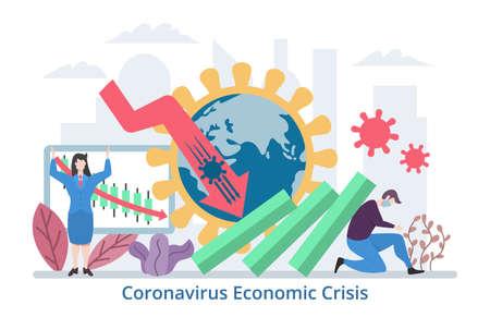 Coronavirus Economic Crisis concept, modern flat design vector illustration Çizim