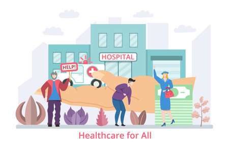 Concept of Healthcare for All, flat design vector illustration