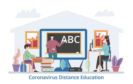 Coronavirus Distance Education concept, modern flat design vector illustration Çizim