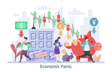Economic Panic concept, modern flat design vector illustration