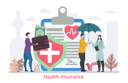 Concept of Health Insurance for All, flat design vector illustration