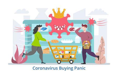 Coronavirus Buying Panic concept, modern flat design vector illustration
