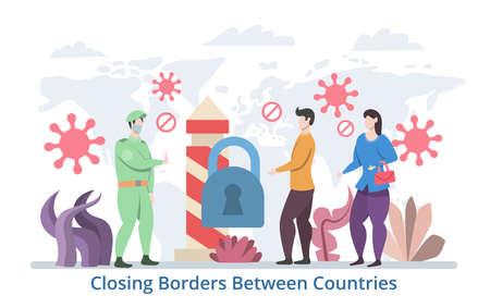 Closing Borders Between Countries concept, modern flat design vector illustration Çizim
