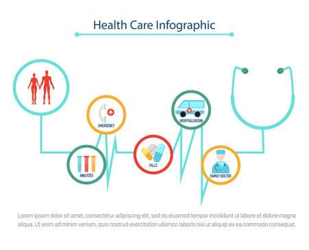 Health Care infographic concept, flat vector illustration Çizim