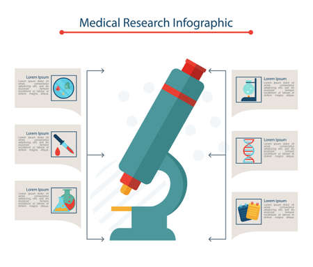 Medical Research infographic concept, flat vector illustration Çizim