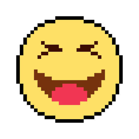Emoticon and Emoji Smile, pixel art design vector illustration Иллюстрация