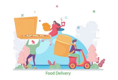 Concept of Food Delivery Service, flat design vector illustration, for graphic and web design