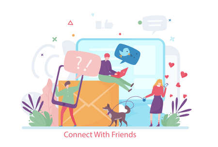 Concept of Connect with Friends, flat design vector illustration, for graphic and web design