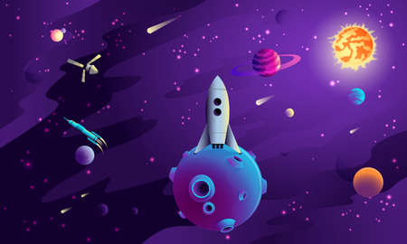 Art of Space concept, volume flat design, vector illustration, for graphic and web design Çizim