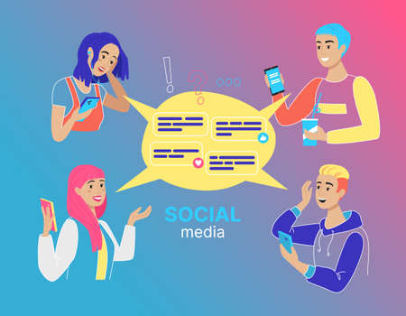 Concept of Social Media with people, flat design, vector illustration, for graphic and web design