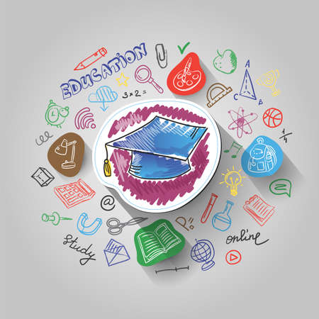 Concept of Education Process and Back to School, paint and paper cut designs, vector illustration, for graphic and web design