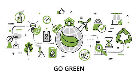Go Green, ecology concept, flat line design vector illustration, for graphic and web design Çizim