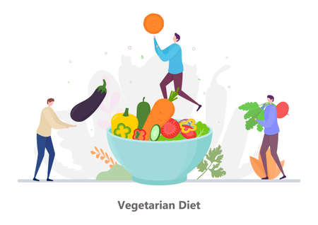 Concept of Vegetarian Diet, flat design vector illustration, for graphic and web design