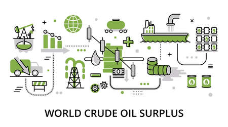 World Crude Oil Surplus concept, modern flat thin line design vector illustration, for graphic and web design
